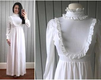 1970s Victorian Style Wedding Dress   Bohemian Peasant Style Wedding Dress   1970s Bride   70s Wedding Dress   Vintage Clothing
