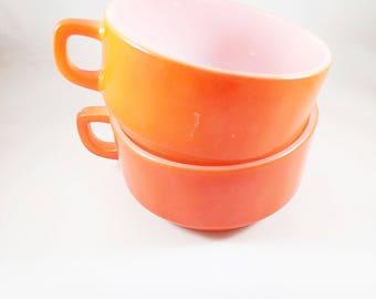 Fireking Soup Mugs, Bright Orange Handle Mugs, Oversized