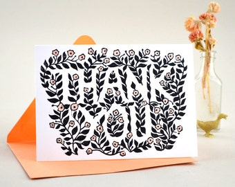 Thank You Greeting Card. Hand Printed Note Card. Handmade Card. Hand Painted Card. Linocut. Flowers. Thank You Card.