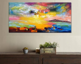 Abstract Landscape Painting, Large Art, Canvas Painting, Canvas Wall Art, Original Painting, Large Abstract Art, Canvas Painting, Canvas Art