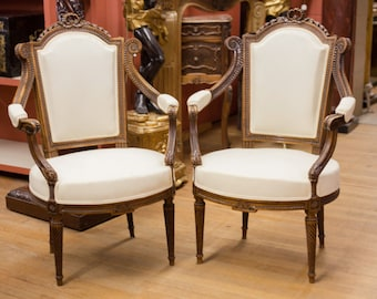 Pair of Antique French Walnut Upholstered Muslin Chairs