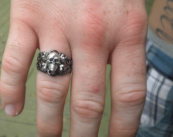 Adjustable,Silver Skull and Bones Ring,Steampunk Ring,Edwardian Fantasy,Steam Punk Goth,Gothic Ring,Mens Ring,Mens Gifts,Gothic Jewelry