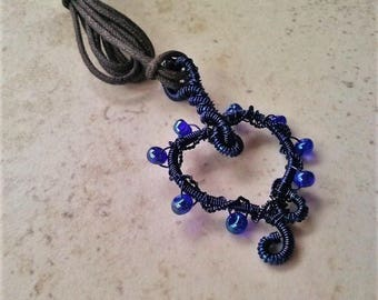 Handmade Wire Wrapped Blue Heart Necklace