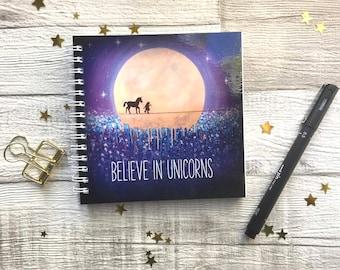 Unicorn friend, believe in unicorns, unicorn notepad, spiral bound notepad, vibrant fantasy artwork, UK Seller.