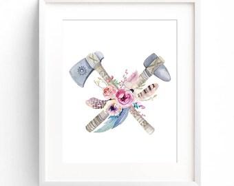 Watercolor flowers print, Boho wall art, Floral print, Flowers, Watercolor print, Digital Wall Art, Modern art, Wall Decor, print