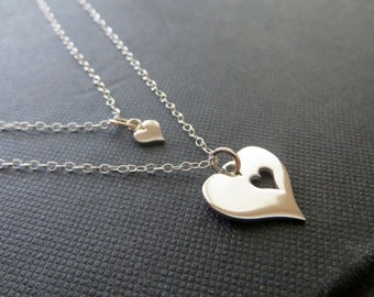 Mother daughter jewelry, mother daughter necklace, silver heart cutout, mom gift