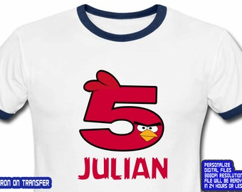 Angry Birds, Angry Birds Iron On Transfer, Angry Birds Birthday Shirt, Angry Birds Party, Boy Birthday Shirt, Personalize Name, Digital File