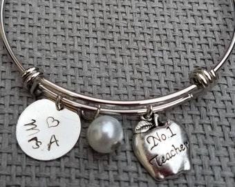 Teacher Appreciation Gift Charm Bracelet Silver Tone, Customized Teacher Bracelet, Personalized Teacher Gift, Teacher's Gift CB123007