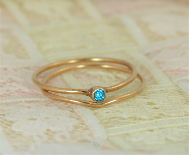 Tiny Blue Topaz Ring Set, Solid 14k Rose Gold Wedding Set, Stacking ...