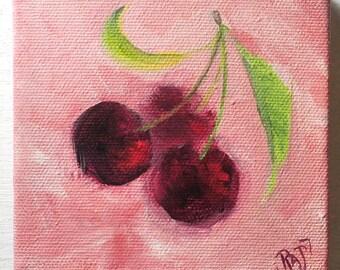 Small Original Painting of Cherries OOAK