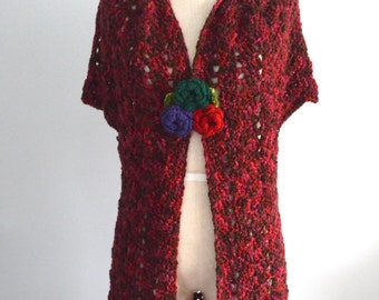 Boho Chic Long Cover Up VEST Chunky Merlot Pink Crochet Hippie Shawl Free Shipping US