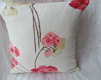 """Clearance Modern pink, cream pistachio green flowered 16"""" x 16"""" cushion cover, scatter cushion, pillow case"""