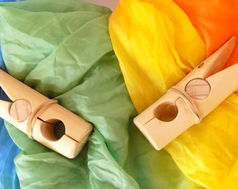 Wooden playclips / savage wood play clips / Waldorf play clips set of two