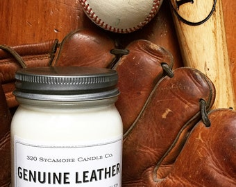 16 oz. Genuine Leather Hand Poured Pure Soy Candle with Cotton Wick