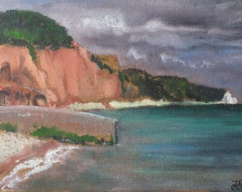 """Sidmouth, small unframed original oil painting, canvas board 5x7"""""""