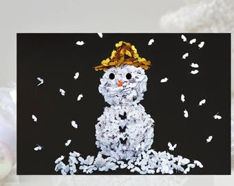 Happy Christmas Snowman Card, Snowman Butterfly Card,  Winter Snowman Card, Winter Snowman card, Birthday Snowman Card