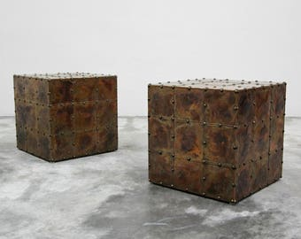 Pair of Patinaed Copper Cube Side Tables in the Style of Sarreid