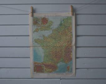 1966 Vintage Map of France