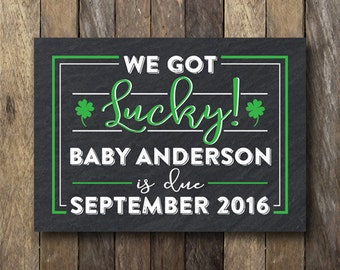 St. Patrick's Day Pregnancy Announcement - Printable Pregnancy Reveal - St Patrick's Day Announcement