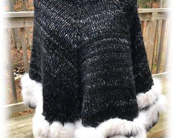 Hand Knit Poncho trimmed with Genuine Paula Lishman Fox yarn