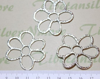 8 pcs per pack 40mm Large Cut Hammered Flower Link Pendant Antique Silver Finish Lead free Pewter