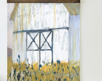 Steadfast, Barn Art, Art Print, Barn Watercolor, Farm Painting, White Barn