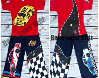 RACECAR boys Boutique custom hand painted 12 18 24 2 3 4 5 6 pageant