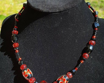 One of a kind Hand made black and red glass beaded necklace
