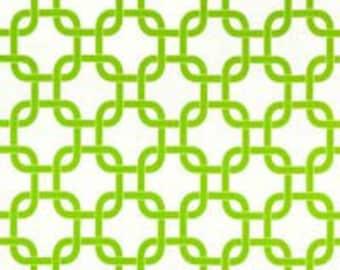 SALE - Fabric Destash Home Decor Fabric - Premier Prints Gotcha in White/Lime Green Chain Print