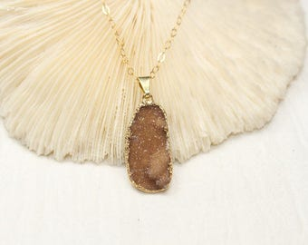 Brown Druzy Necklace, Druzy Jewelry, Drusy Pendant, Gemstone Necklace, Geode, Drusy