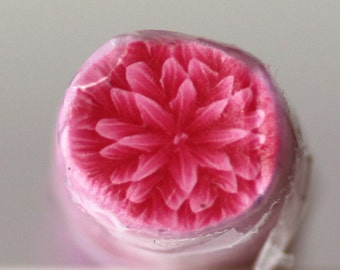Cherry Red Mum Cane, Polymer Clay Flower Cane, Red Carnation Chrysanthemum, Raw Unbaked
