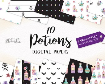Watercolour Halloween Potions Digital Papers - Hand Painted INSTANT DOWNLOAD Witches Spells Skulls Crossbones Flowers Planner PNG Patterns