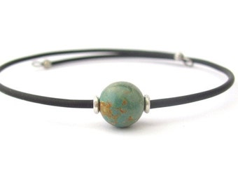 Turquoise Bracelet, Green Turquoise, Wrap Bracelet, Gemstone Jewelry, Minimal , Memory Wire Bracelet, Friendship Bracelet, Hawaii Jewelry