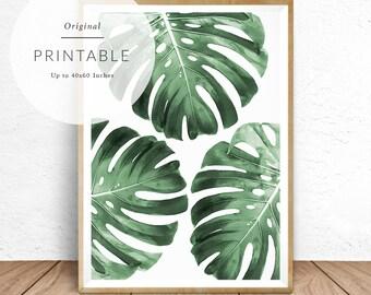 Monstera Print, Monstera Leaves Wall Art, Tropical Decor, Tropical Wall Art,  Greenery
