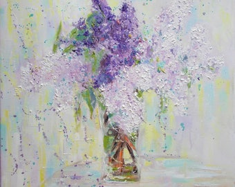 Original lilacs painting in a vase,lilac painting,lilacs in a vase art,flowers painting,floral oil painting,textured lilac painting,flowers
