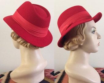 1960's Red Wool Fedora Vintage Short Brim Felted Wool Hat by Maeberry Vintage