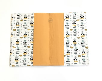 Mustard and white masks printed fabric health book