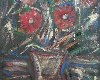 Vintage flowers still life oil painting