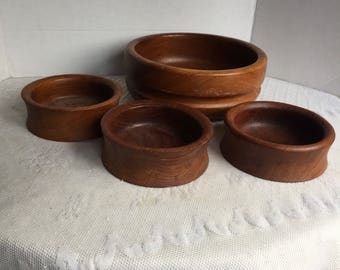 Mismatched Teak Wood Salad Bowls / Vintage Wooden Bowl Set by Kalmar / Made in Thailand