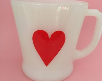 vintage fire king heart mug