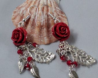 Red Rose Earrings with Silver Leaf Dangles