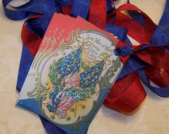 4th of July Tags Patriotic Journaling Cards Junk Journal Supplies Vintage Style Tags Set of 6 or 9