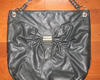 Faux Leather Black Tote