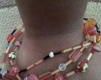 Handmade OOAK #2 Orange and Black Lampwork Bracelet