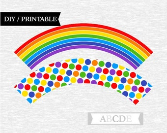 Instant Download Rainbow Paty Cupcake wrappers DIY Printable (PDSSD030)