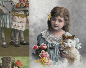 Vintage Children Hand Tinted Photo Postcards, Antique Cards with Canceled Postage Stamps