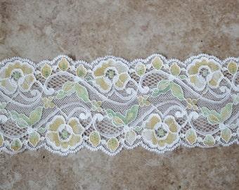"2 yards White Seafoam Green yellow HEADBAND scalloped French stretch lace 3"" wide"