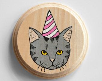 Birthday Kitten mini painting on wood