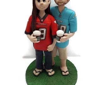 Custom cake topper, Sports fan wedding cake topper, Bride and groom cake topper, Mr and Mrs cake topper, personalized cake topper