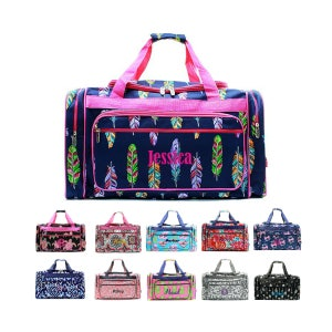 """Monogrammed Large Kids Duffle Bag 23"""" Personalized Monogram Name Embroidered Sports Gym Cheer Luggage Travel Girls Pink Mint Coral Navy Blue"""